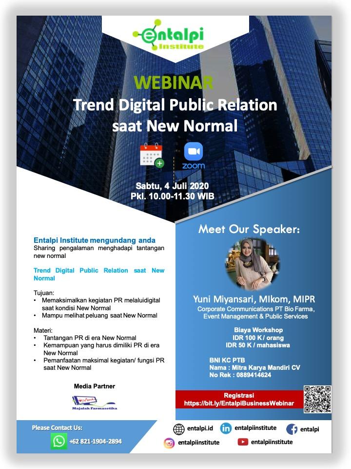 Business Webinar Entalpi : Trend Digital Public Relation Saat New Normal